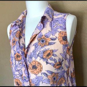 H&M pink salmon pink orange floral sleeveless top